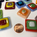 Fused Glass Cabochons, square large