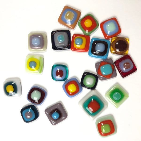 Fused Glass Cabochons, square medium
