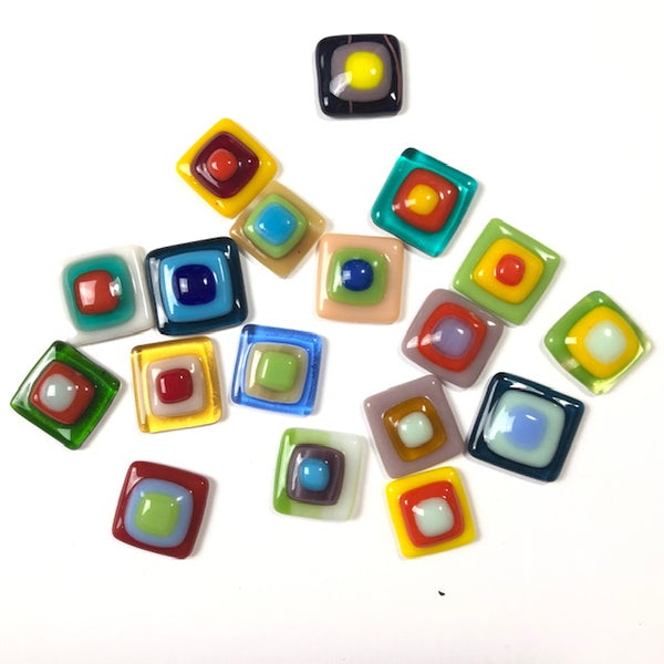 Fused Glass Cabochons: 5 square small