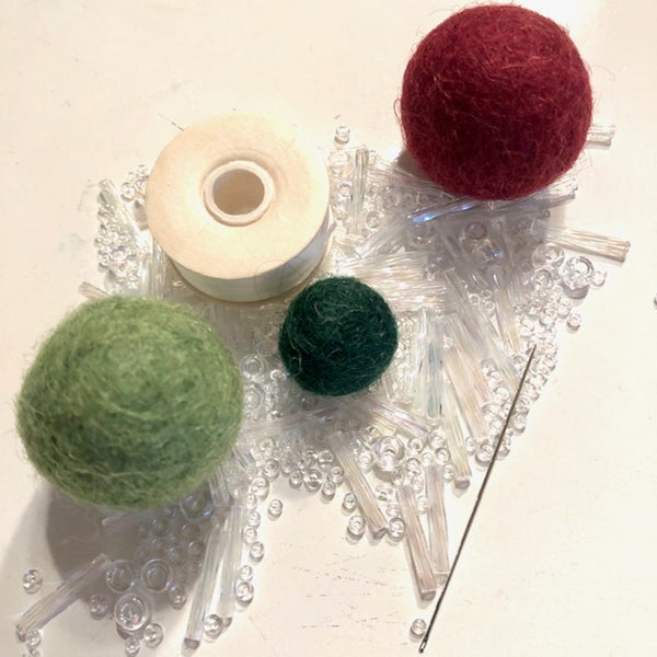 Felt Ball Beaded Ornament Kit