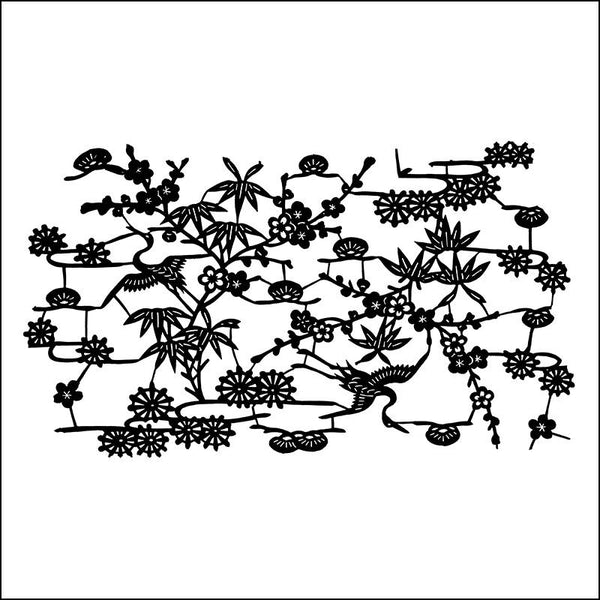 Katazome Cranes and Blossoms Thermofax Screen