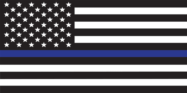 Universal Thin Blue Line American Flag Window Decal Set
