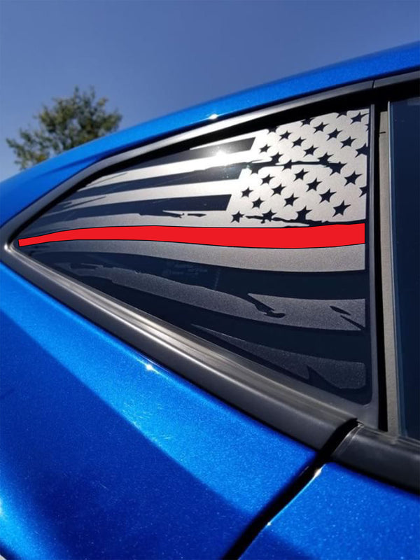 Distressed Quarter Window Flag Decals 2016-18 Chevy Camaro