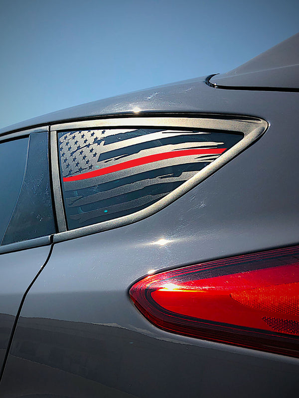 Distressed Quarter Window Flag Decal 2015-2018 Focus ST/RS