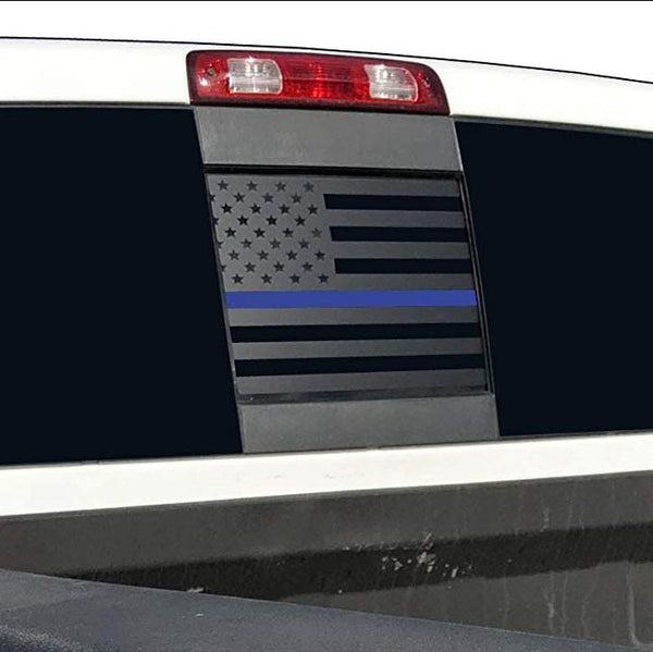 Dodge RAM Back Middle Window - Thin Blue Line American Flag Decal 2009-2018