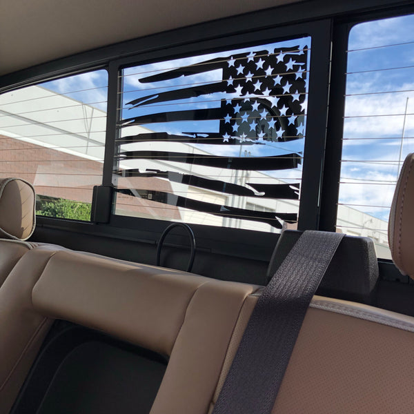 Chevy/GMC Silverado/Sierra Back Middle Window Distressed American Flag Decal 2014-2018