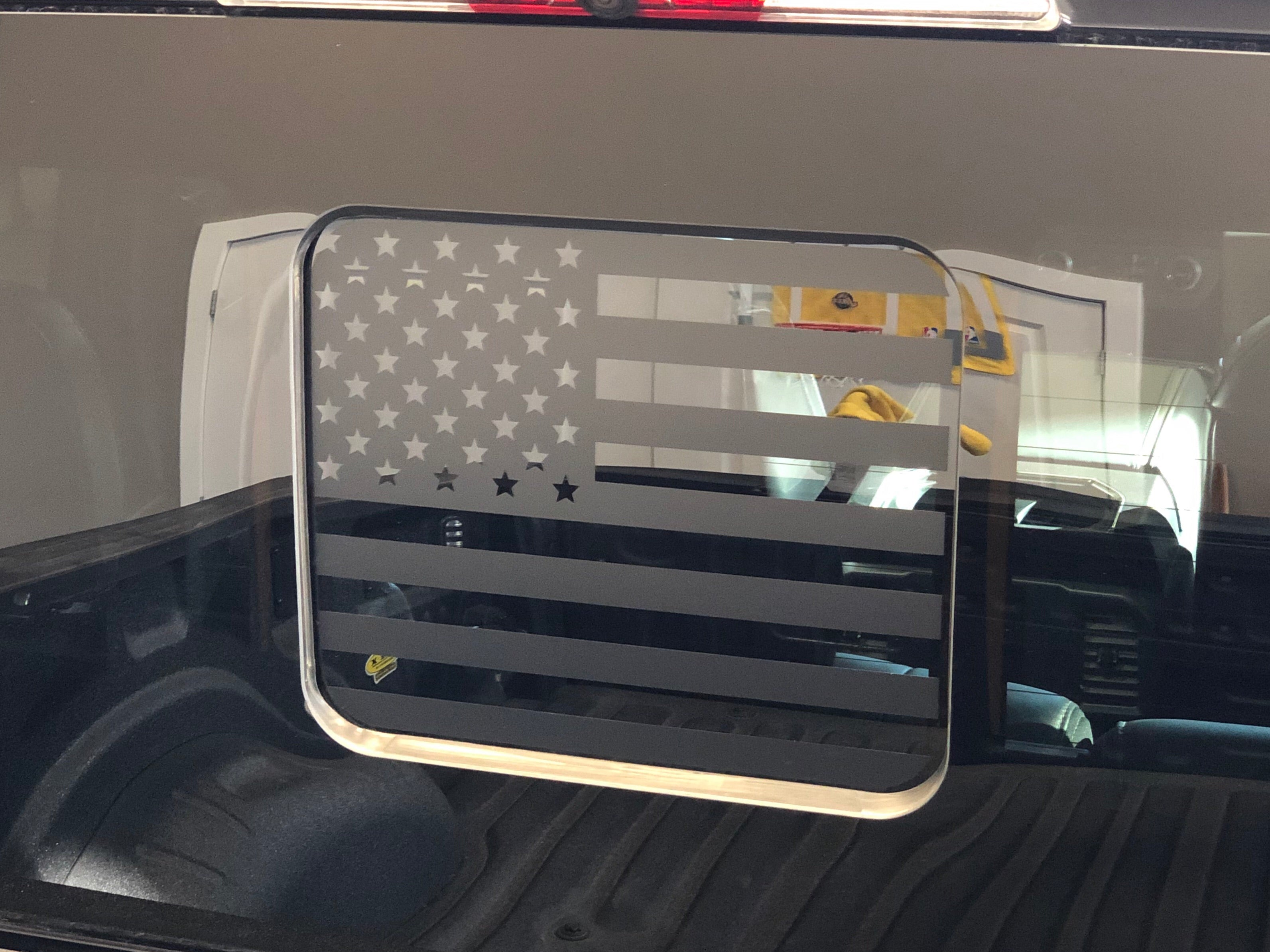 Ford f150 f250 f350 back middle window american flag decal 2015 2018