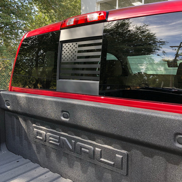 Chevy / GMC Silverado / Sierra Back Middle Window American Flag Decal 2014-2018