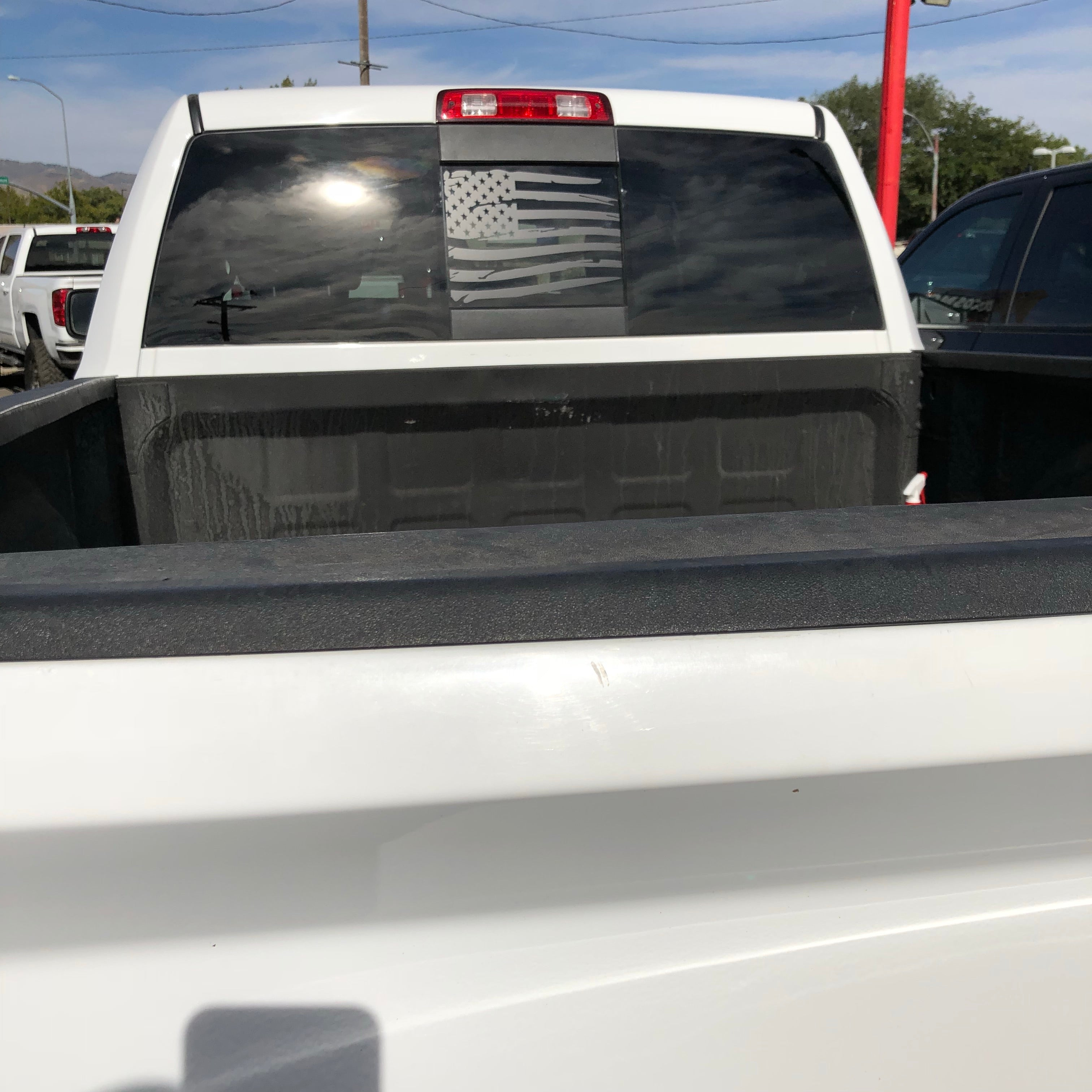 Dodge Ram Back Middle Window Distressed American Flag Decal 2009 2018 Elevated Auto Styling