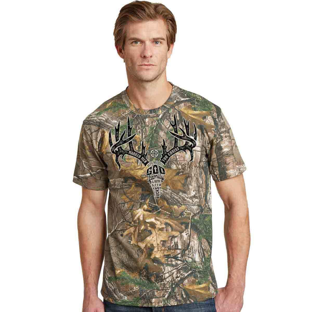Marked Men for Christ -  Adult T - Antler Text Realtree