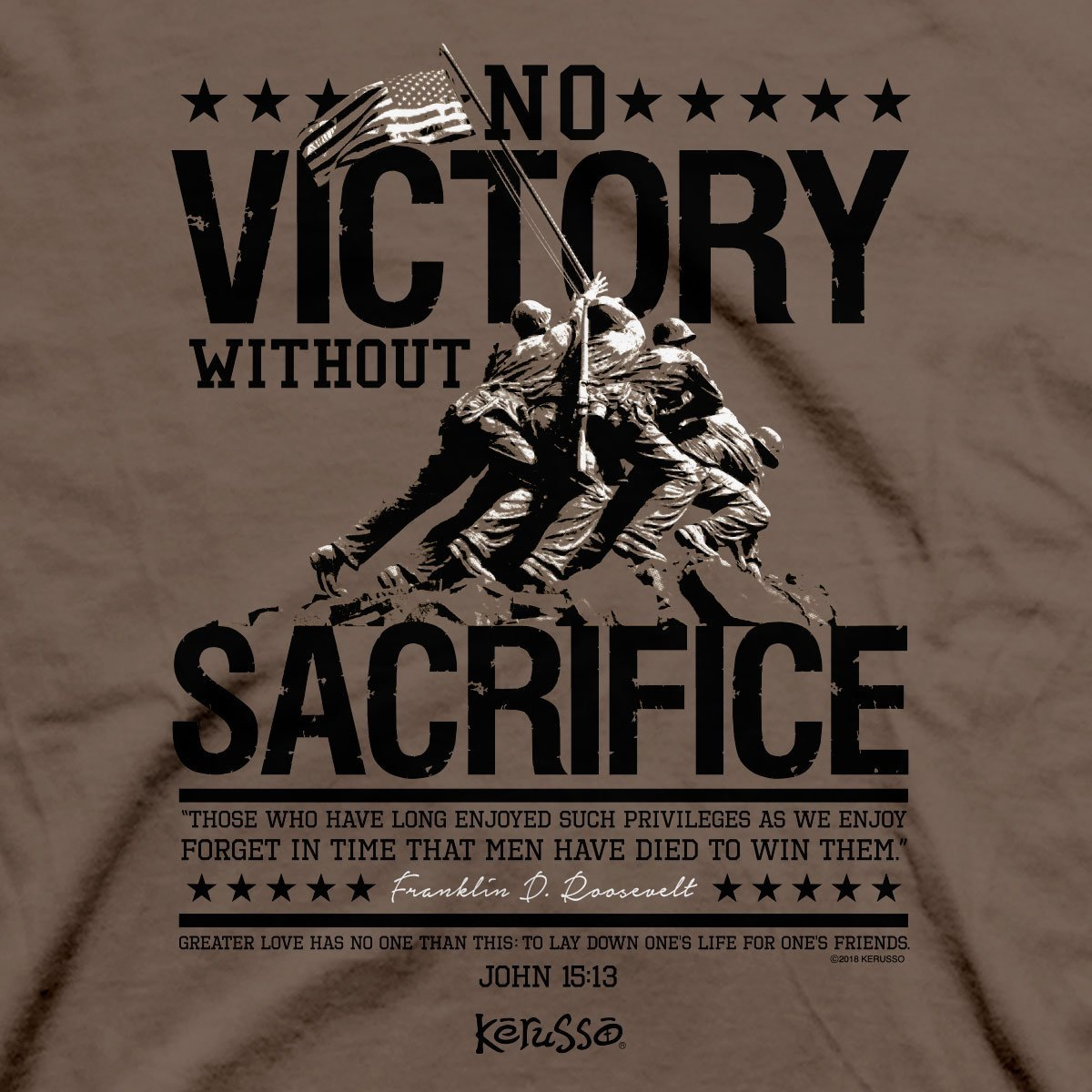 Kerusso® Christian T-Shirt Roosevelt No Victory Without Sacrifice
