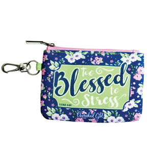 Cherished Girl Christian Coin Purse Too Blessed