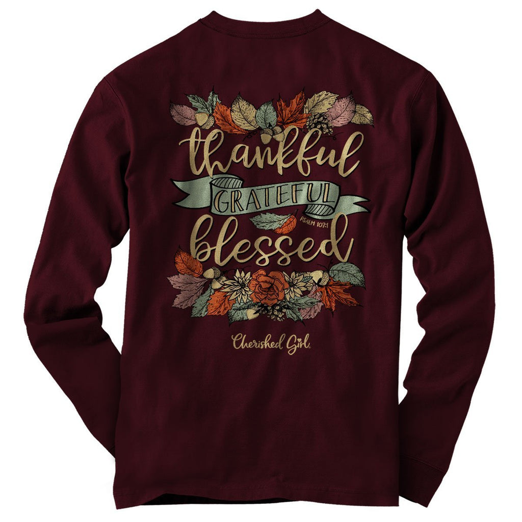 Cherished Girl Womens Long Sleeve T-Shirt Thankful