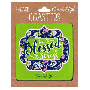Cherished Girl Christian Drink Coasters Too Blessed