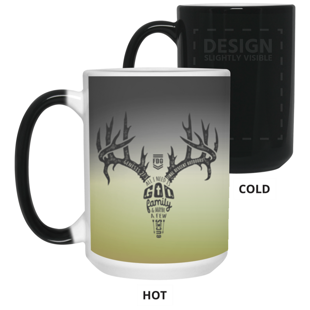 Final Descent Outdoors - Antler Text - 15 oz. Color Changing Mug