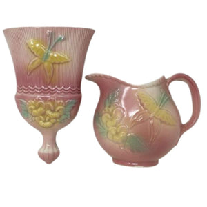 Vintage HULL PINK BUTTERFLY PITCHER #81 and WHISK BROOM #82 WALL POCKETS 1950s