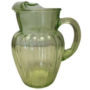 Vintage Vaseline Uranium Glass Pitcher TM