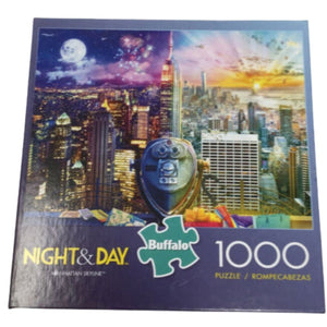 "Buffalo ""Manhattan Skyline"" 1000 piece JIGSAW PUZZLE Night and Day City Scape JB"