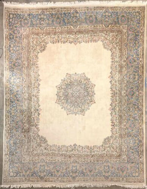 "Cream Blue Pink Antique Handmade Hand-woven Hand Knotted 11' 4"" X 14' Area Rug"