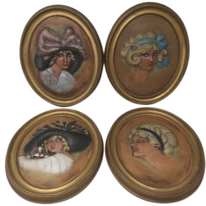 4 Vintage Duncan Ceramic Lovely Lady Wall Plaque Erma Gilliland Duncan 1909/1910