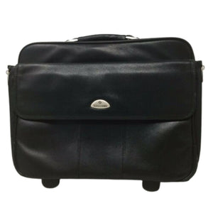 "Samsonite Leather Laptop Carry On Briefcase Rolling Travel Bag 18"" Wide 15"" Tall"