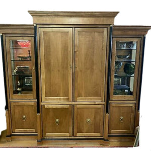 Four Piece Large Furniture Entertainment Armoire With Two Curio Cabinets.