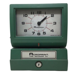 VINTAGE Acroprint Time Recorder Company Time Clock Model #150NR4 No Key