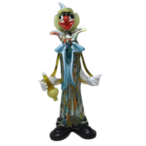"VINTAGE MURANO 16"" 1950s Hand Blown Multicolored Glass Drunken Clown"
