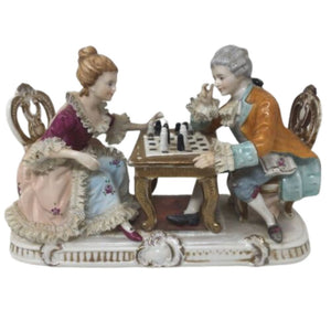 Vintage Porcelain Figure Kpm Couple playing chess 10""