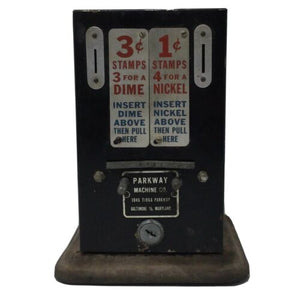 VINTAGE STAMP VENDING MACHINE COUNTER DISPLAY ADVERTISING DOES NOT WORK