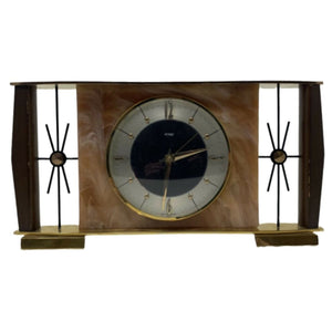 Rare Mid-Century Modern (MCM) Sunburst Marble and Brass Table Clock by Metamec