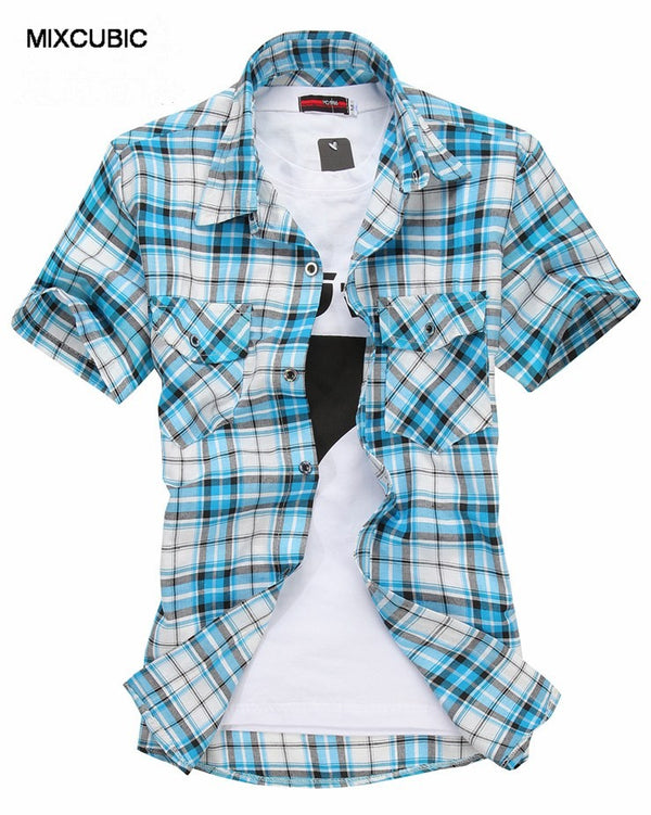 Double Pocket Plaid Short-SleevedShirts