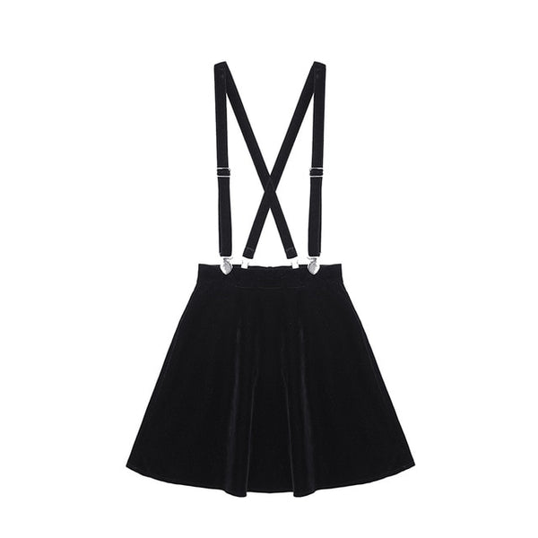 Velvet Punk Love Clip Strap Skirt