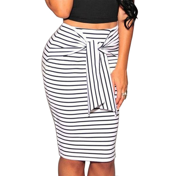Bow-Tie Zipper Knee-Length Pencil Skirt