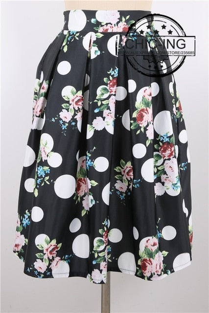 Women Peach Blossom Vintage Skirts