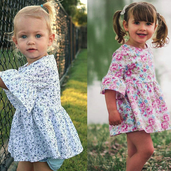 Toddler Floral Print Ruffles Clothes