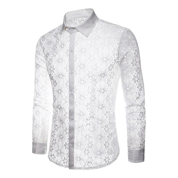 Transparent Men Lace-Shirt