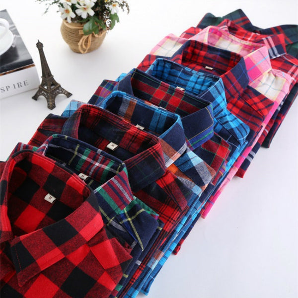 Checked Plaid Female College Tops Shirts