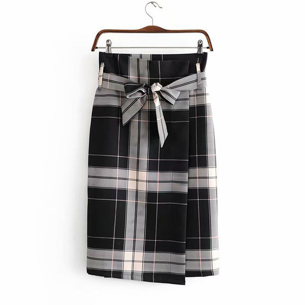 Asymmetrical Belt Plaid Women Skirts