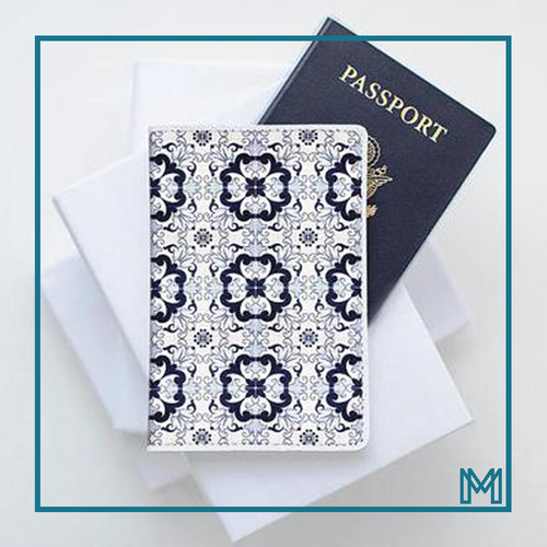 Moroccan Tiles Leather Passport Cover