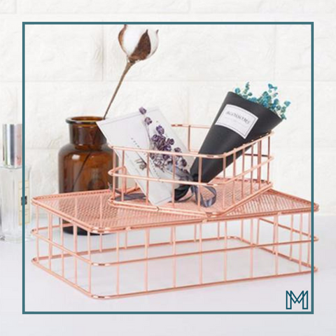 Rose Gold Metal Tidy Basket