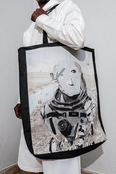 Black Biskit Tote Bag with Astro Print Panel. Hand Made. 100% Cotton. Designed in Madras, Made in India  | BISKIT UNISEX CLOTHING LABEL