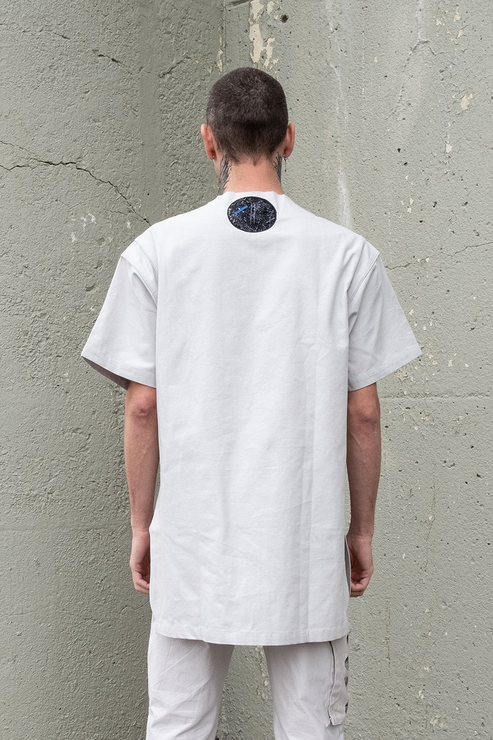 Grey Unisex Tunic Shirt. Grey Detachable Circular Tote. 100% Cotton. Designed in Madras, Made in India  | BISKIT UNISEX CLOTHING LABEL