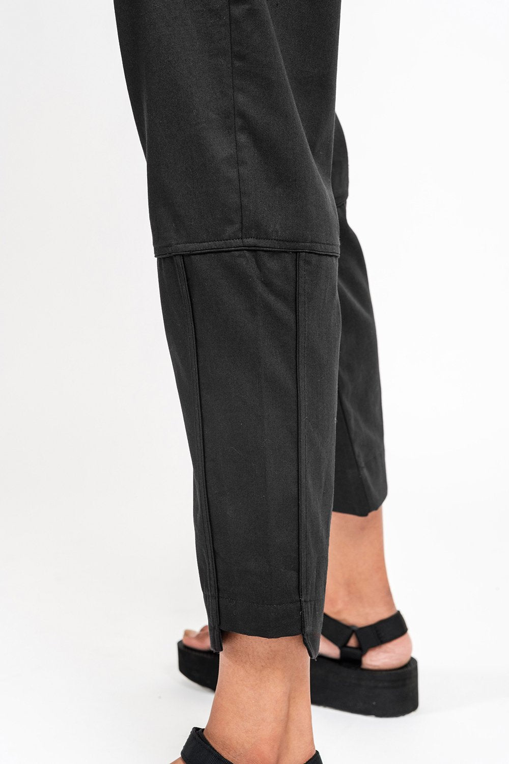 Black Cropped Unisex 'Axis' Trousers
