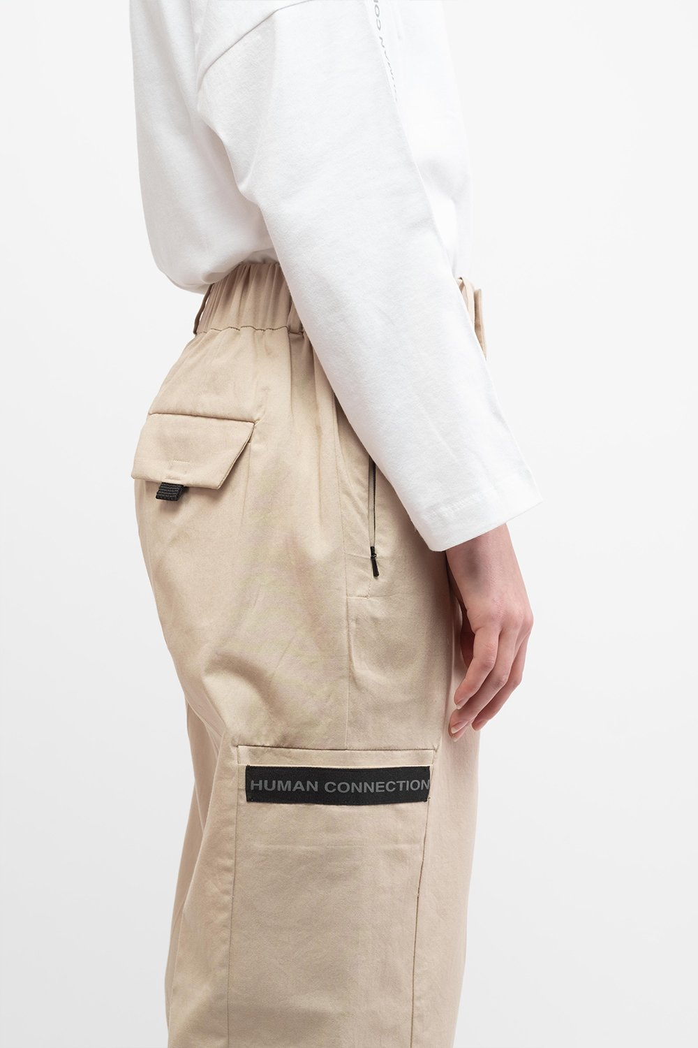 Human Connection Beige Cargo Pants - BISKIT