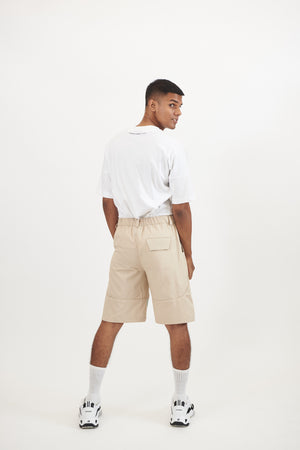 Beige Shorts with Camo Patch | SINGLE EDITION