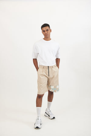 Beige Shorts with Camo Patch