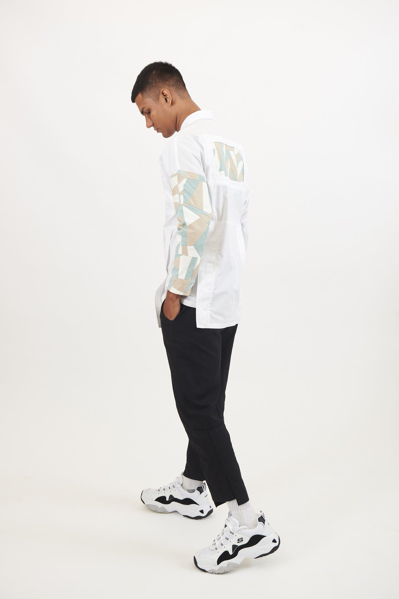 White Shirt with Camo Panels