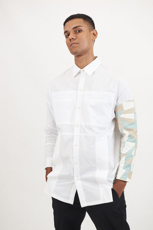 White Shirt with Camo Panels | SINGLE EDITION