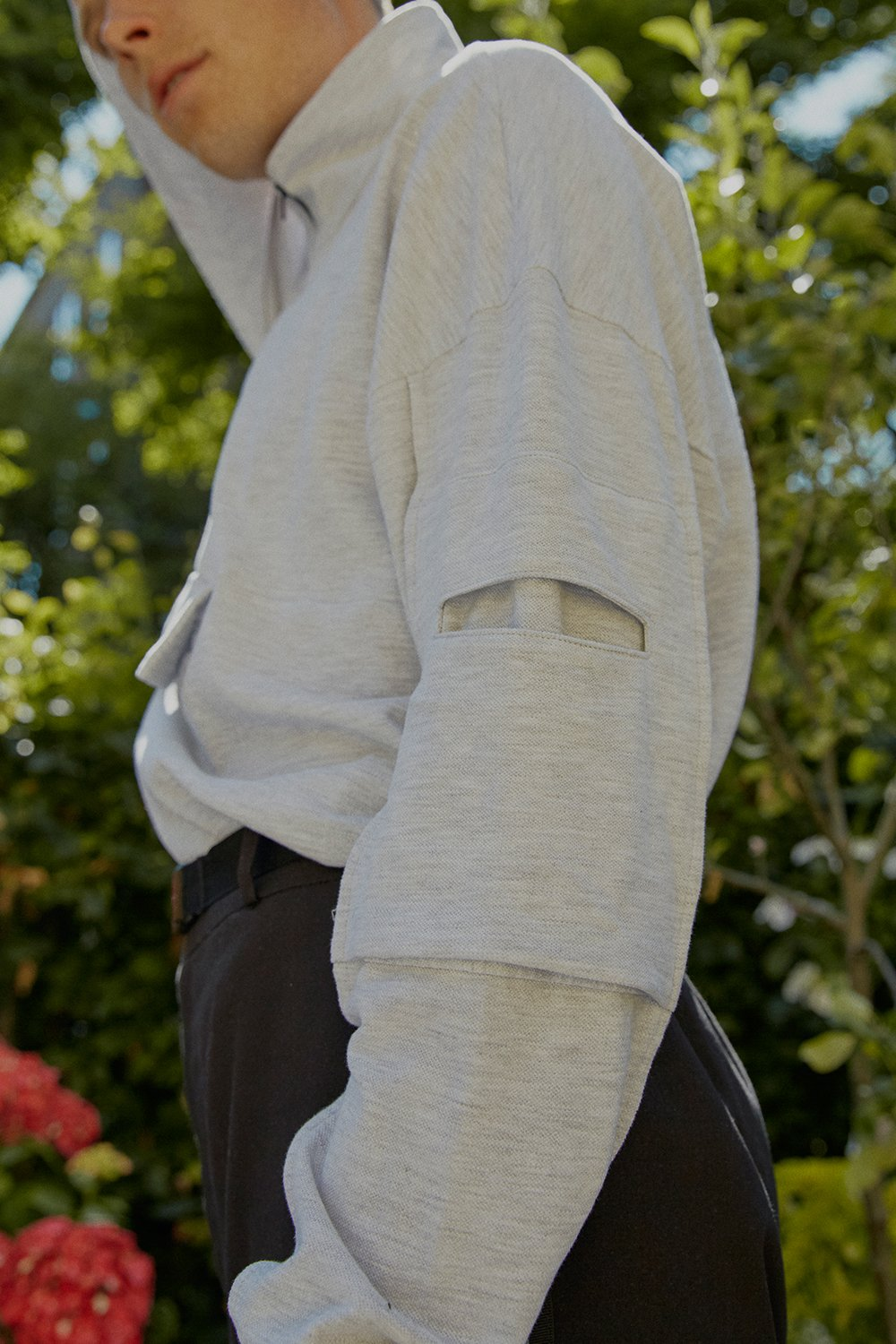 Human Connection High Neck Grey Knit Top - BISKIT